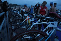 hundreds and hundreds of bikes and gear lining the promenade