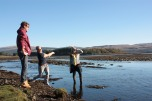 Sandy Ruaridh & Harriet, skipping rocks
