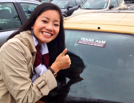 Our Aggie adorned car here in Edinburgh